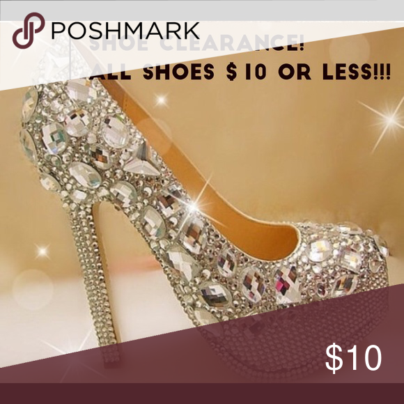 Shoe Clearance!! | Bling heels, Crystal