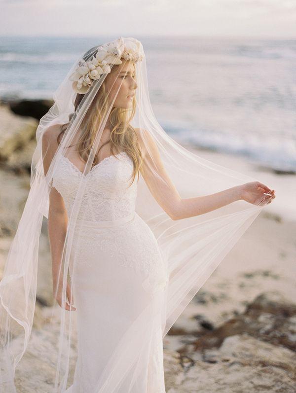Of The Ocean An Elegant Bohemian Beach Bride Editorial Beach Wedding Dress Bride Beach Bride