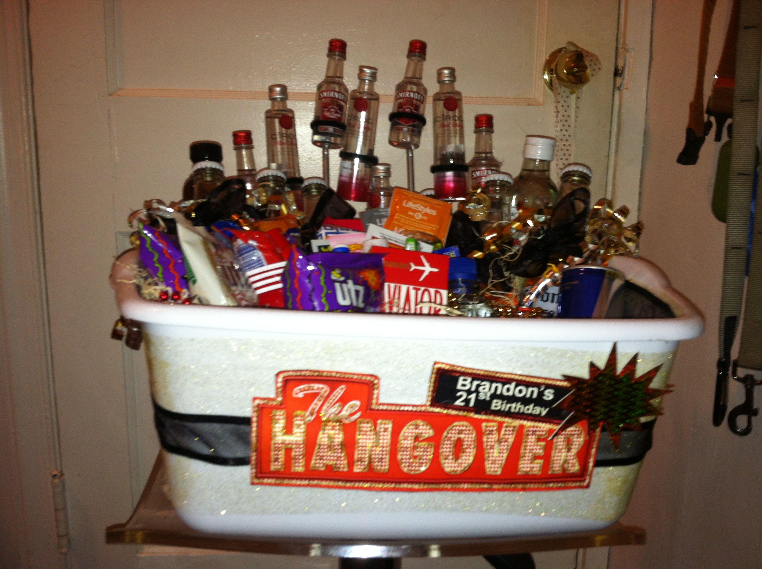 Epic Diy 21st Birthday Hangover Themed Gift Basket Gift