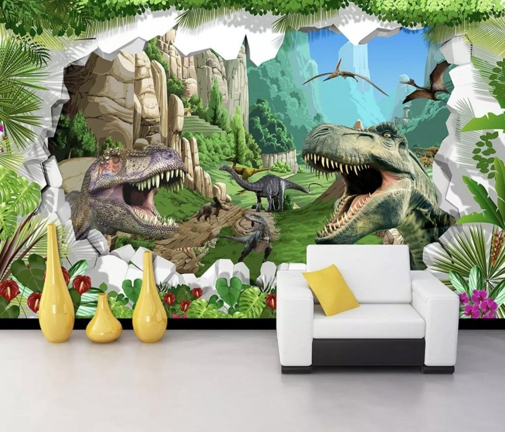 3D Look Dragons and Dinosaurs Wallpaper Mural Kids wall