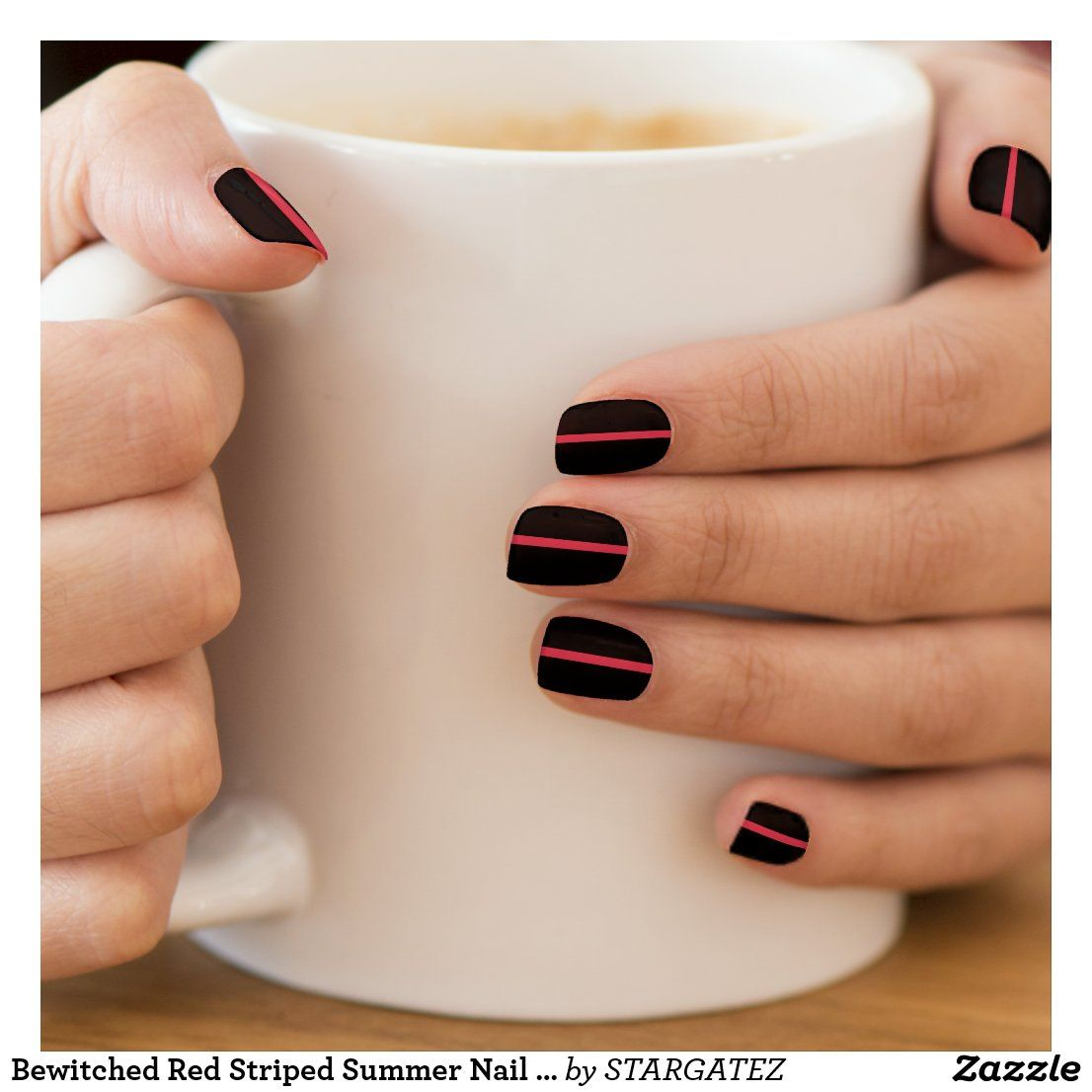 Bewitched Red Striped Summer Nail Art Design | Zazzle.com