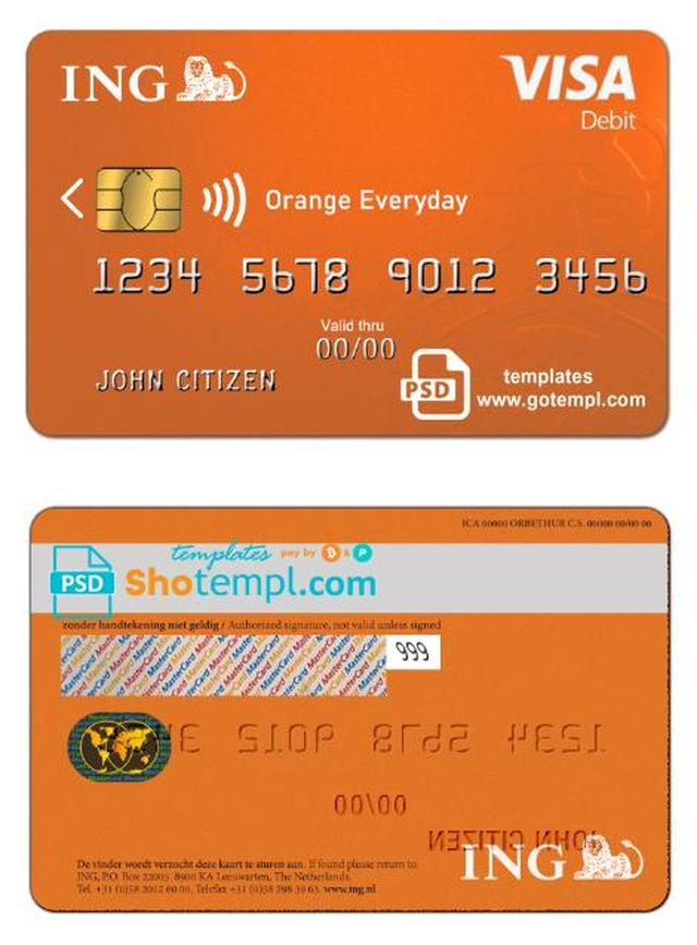 Netherlands Ing Orange Visa Card Template In Psd Format Fully Editable Visa Card Visa Card Numbers Card Template