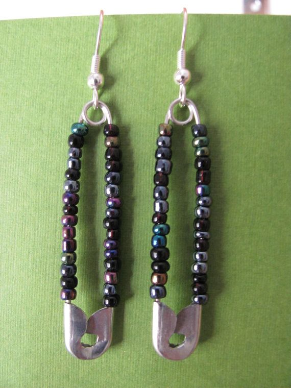 Hanging Safety Pin Earrings With Beads By Jemmadesign On Etsy 6 00
