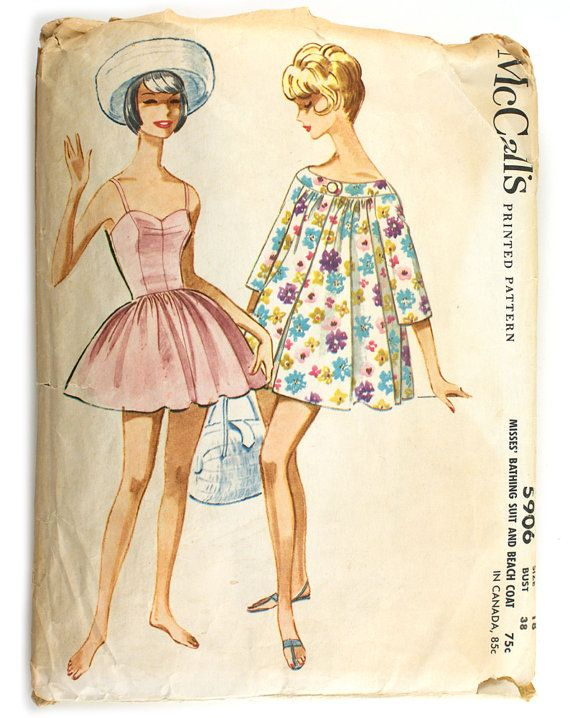 McCall\'s 5906 Misses 1960s Swimsuit Pattern by VtgSewingPatterns ...