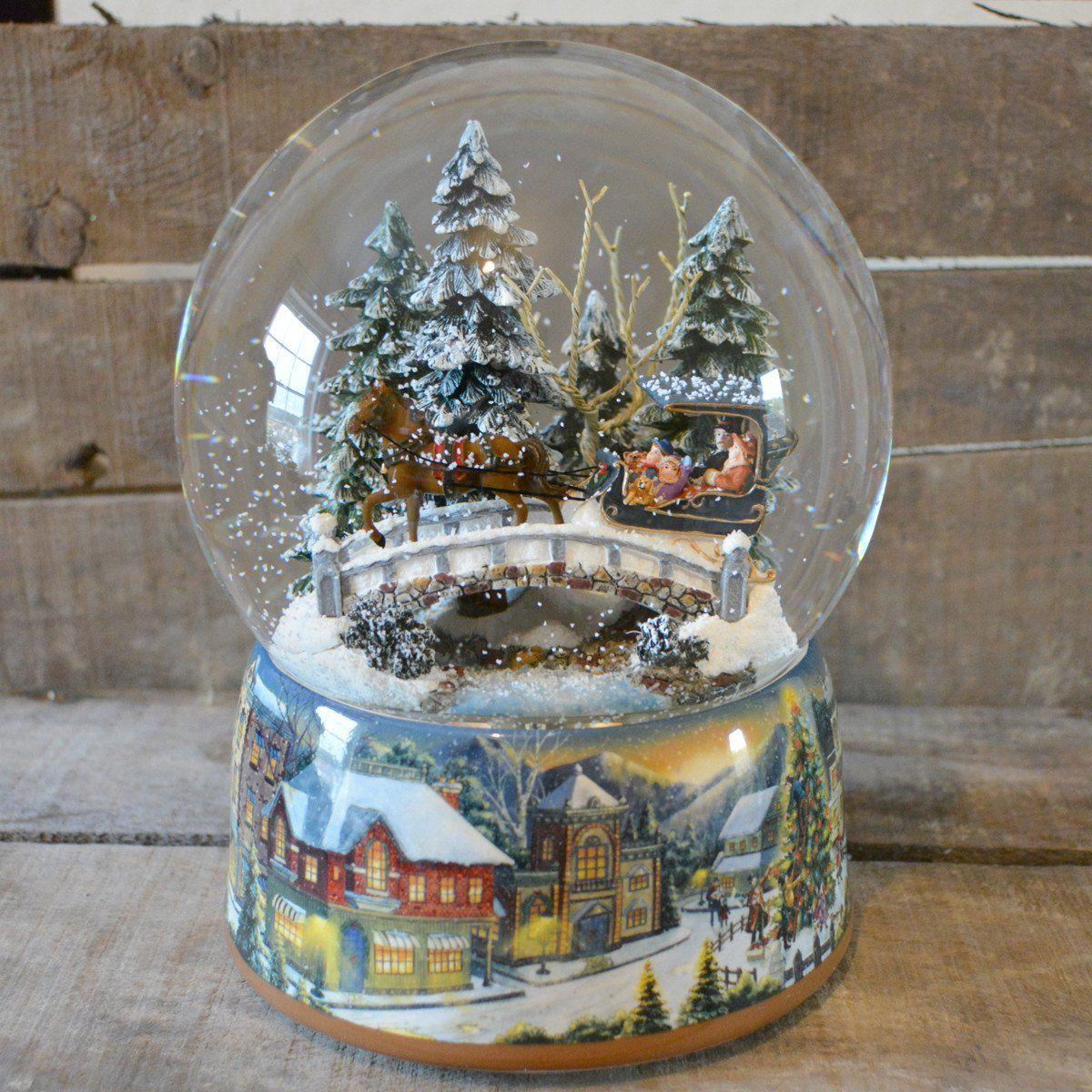 'Winter Sleigh Ride' Christmas Musical Snow Globe (No