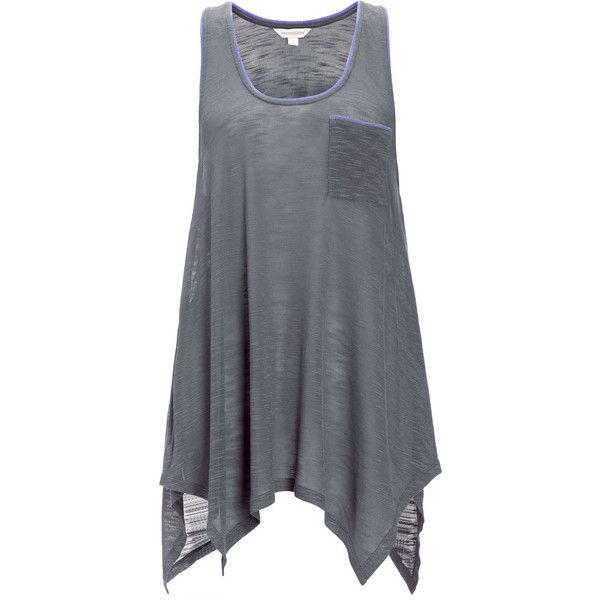 Monsoon Grey Parva Top (£28) ❤ liked on Polyvore featuring tops, shirts, tank tops, tanks, dresses, grey tank top, gray top, shirts & tops, grey top and pocket shirt