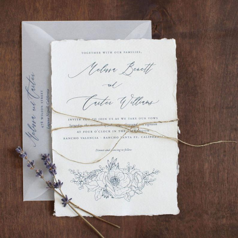 Handmade Paper Wedding Invitation Deckled Edge Paper Torn Etsy In 2021 Handmade Wedding Invitations Deckled Edge Paper Floral Invitation