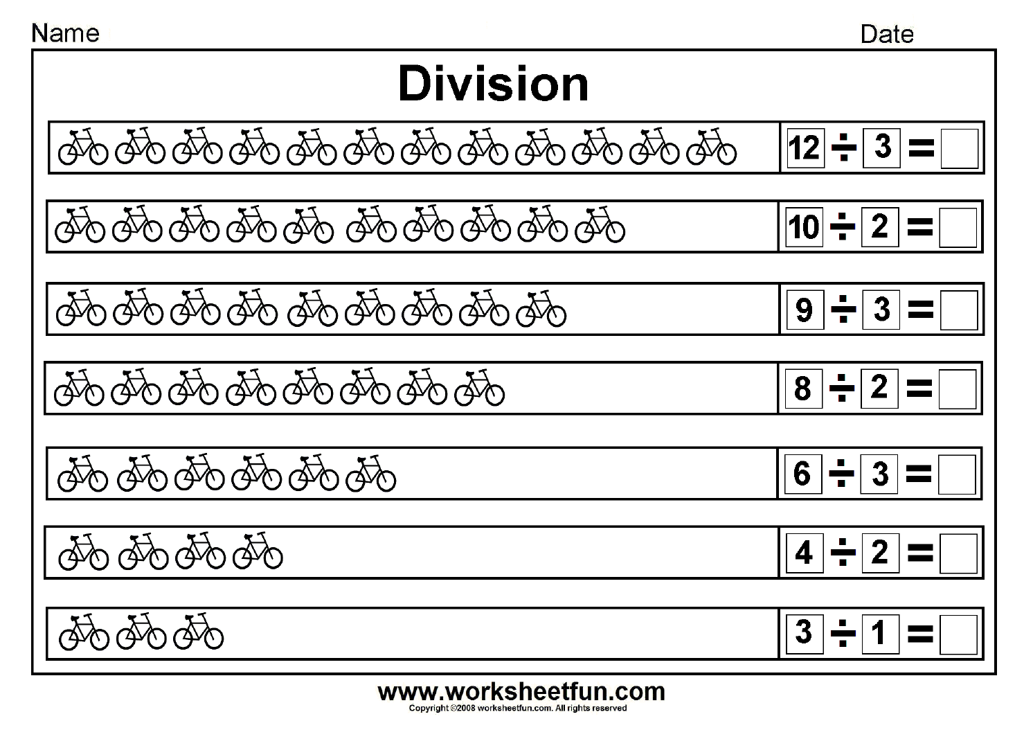 Division worksheets on Division