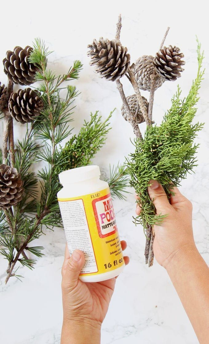 3Minute DIY Snow Covered Pine Cones & Branches {3 Ways