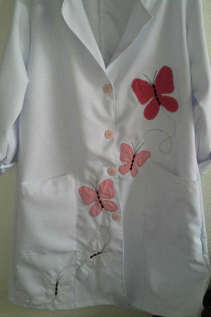 jaleco personalizado borboletas | Lu artes e costura by Luciana Duarte | Elo7