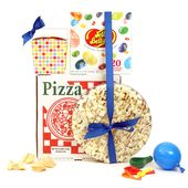 Party in a Box. Purim kosher mishloach manos gift box with complete party goodies supplied, chocolate pizza, white chocolate, pretzels and p...