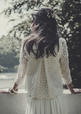 Laurent Nivalle - La mariee aux pieds nus - Laure de Sagazan - Robes de mariee - Collection 2015 - Top Decker - Jupe Desplechin - Dos