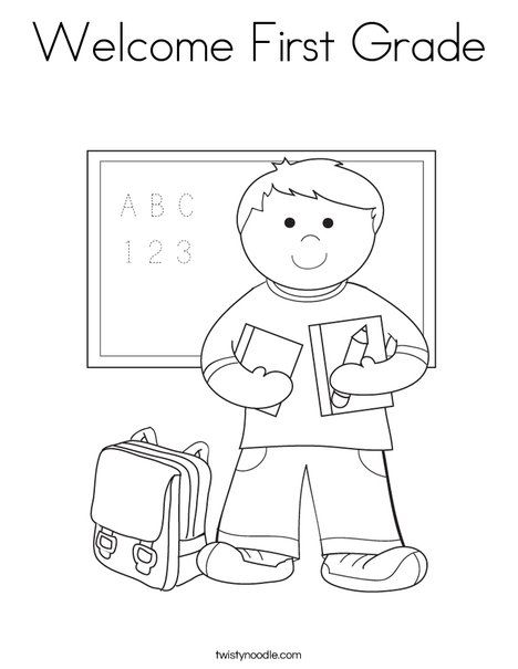 Welcome First Grade Coloring Page From Twistynoodle Com School