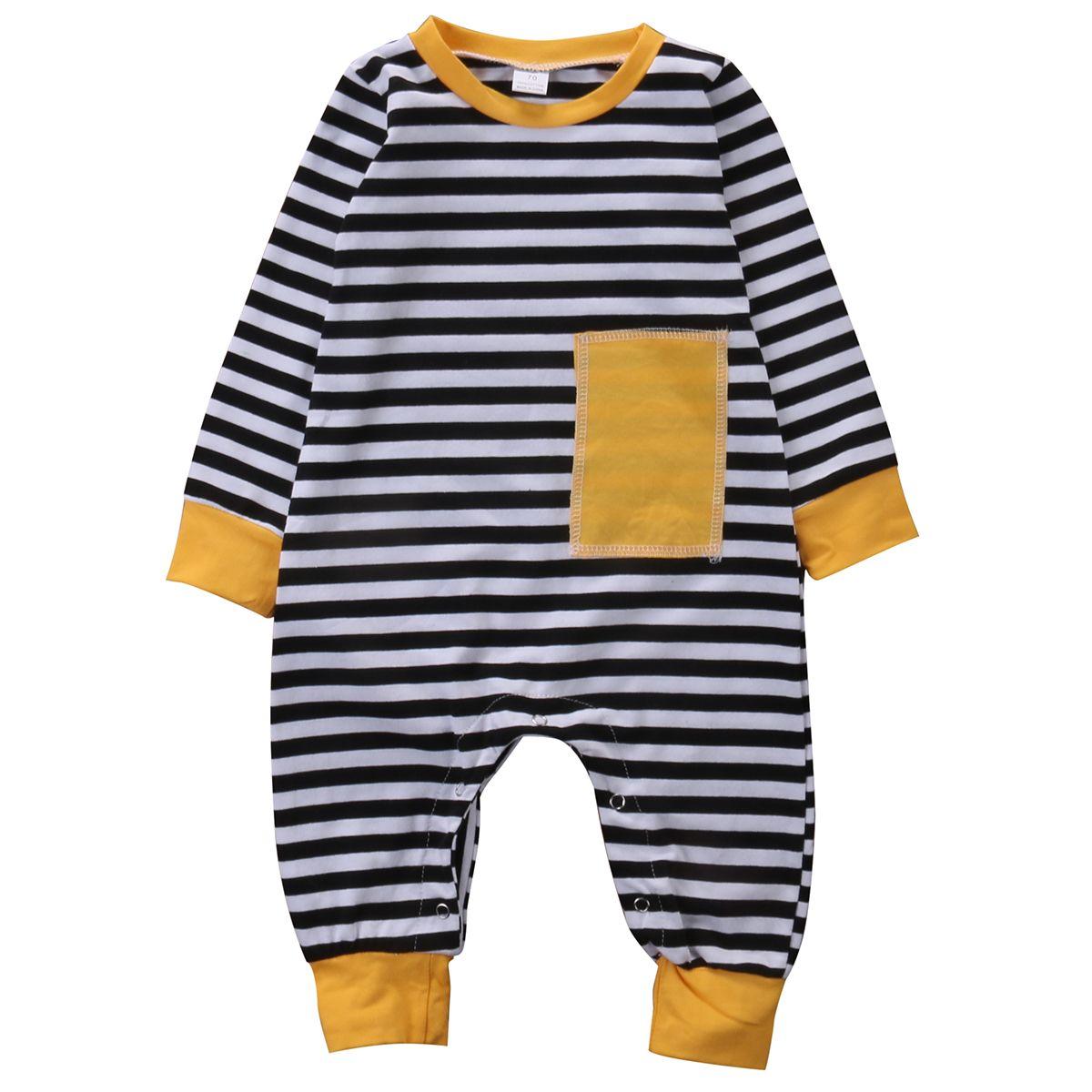 f31696faba Autumn Newborn Kids Baby Boy Long Sleeve Romper Striped Cotton ...