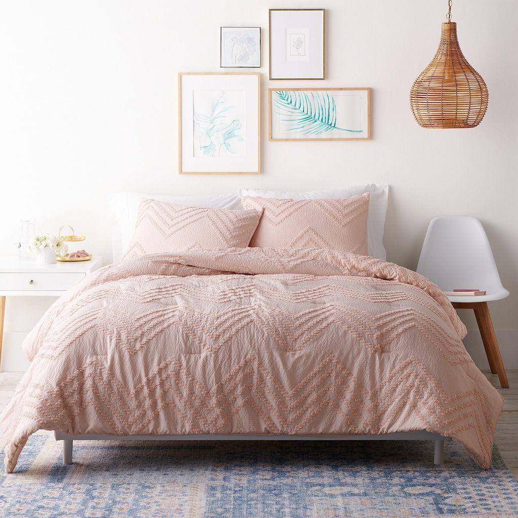 Lc Lauren Conrad 3 Pc Tufted Chenille Comforter Set Pink King