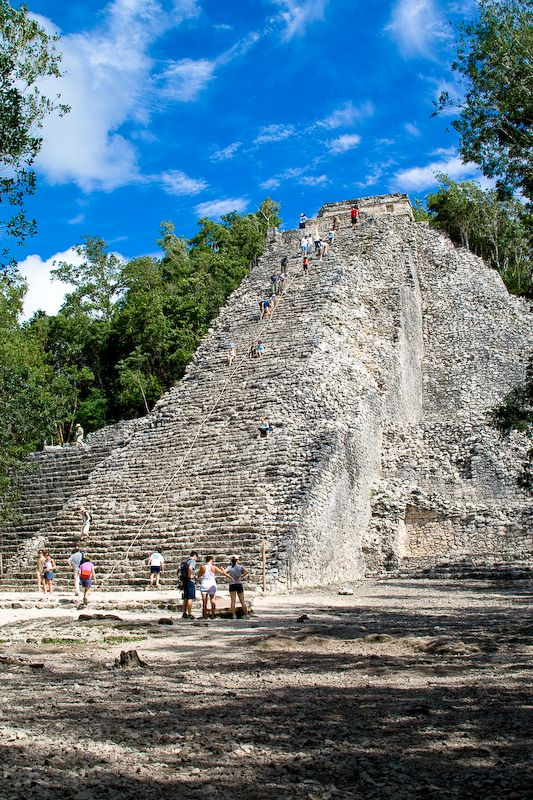 Bicycle throughout the ancient Mayan city of Coba( means 'waters stirred by the wind') in Mexico, on the original sacbes(white roads) and climb the highest Mayan pyramid in the Yucatan, Nohoch Mul(137ft/120 steps).