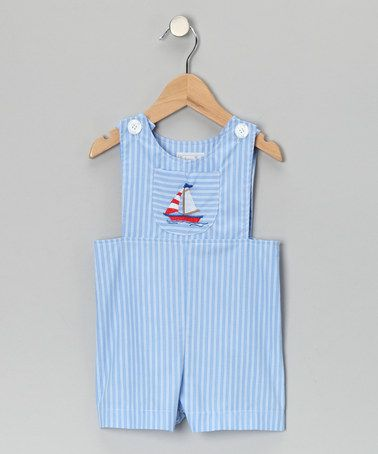 0087955ca Take a look at this Blue Sailboat Stripe Shortalls - Infant by ...