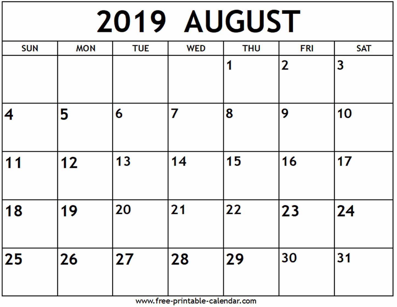 August 2019 Calendar Free Printable Calendar Com Calendar
