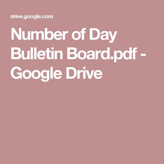 Number of Day Bulletin Board.pdf - Google Drive