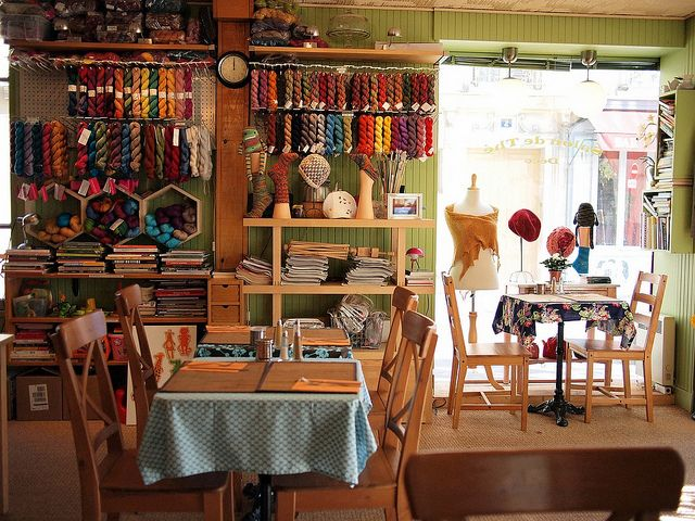 My friend owns a tea house/ knit café in Paris. NO REALLY. It's awesome. So is she.   L'Oisive Thé, 1 Rue Jean Marie Jégo, Paris 75013  L' OisiveThé by eclectic gipsyland, via Flickr