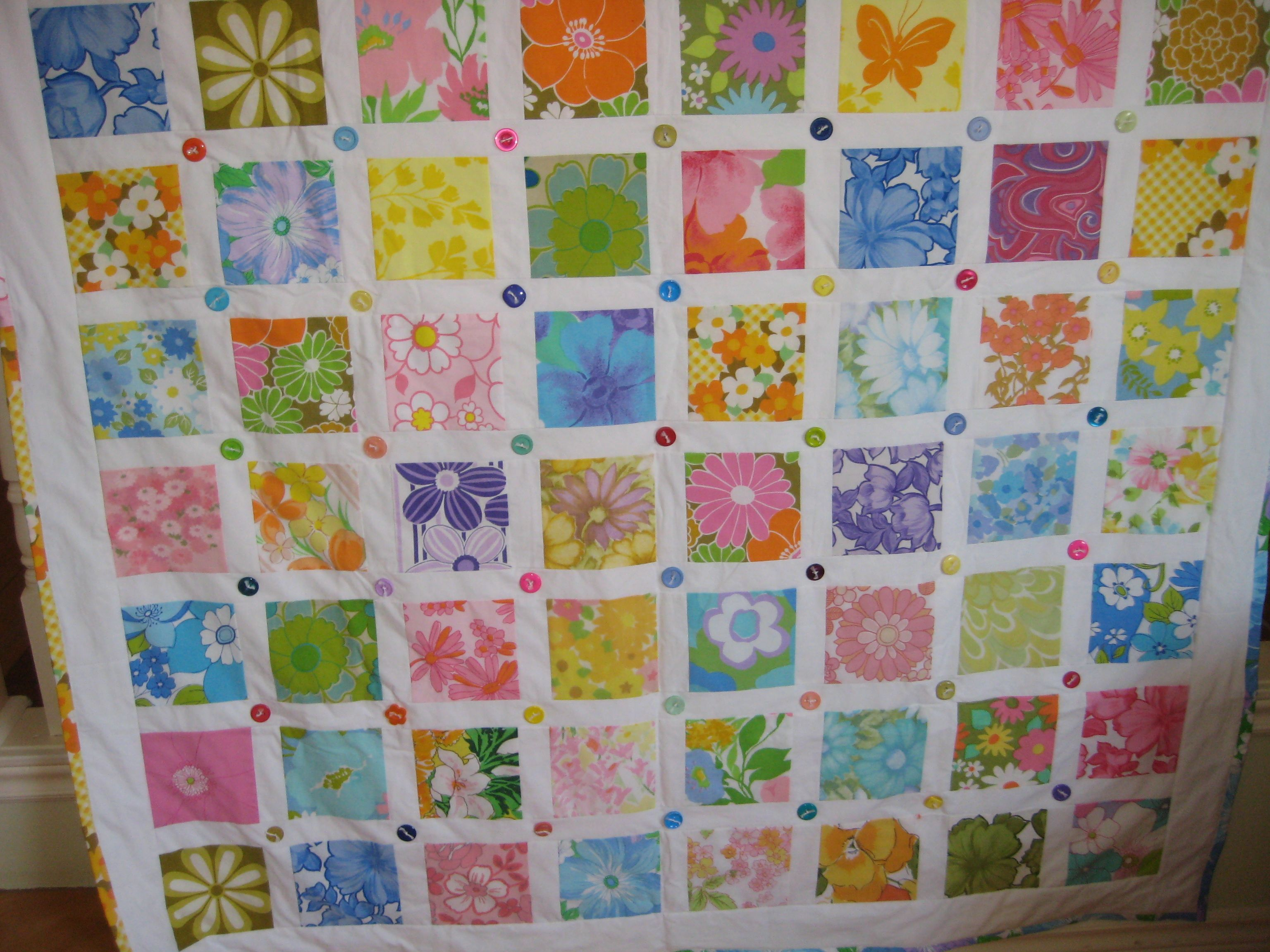vintage sheets and buttons tied quilt pattern from Elizabeth Betts ... : quilt buttons - Adamdwight.com