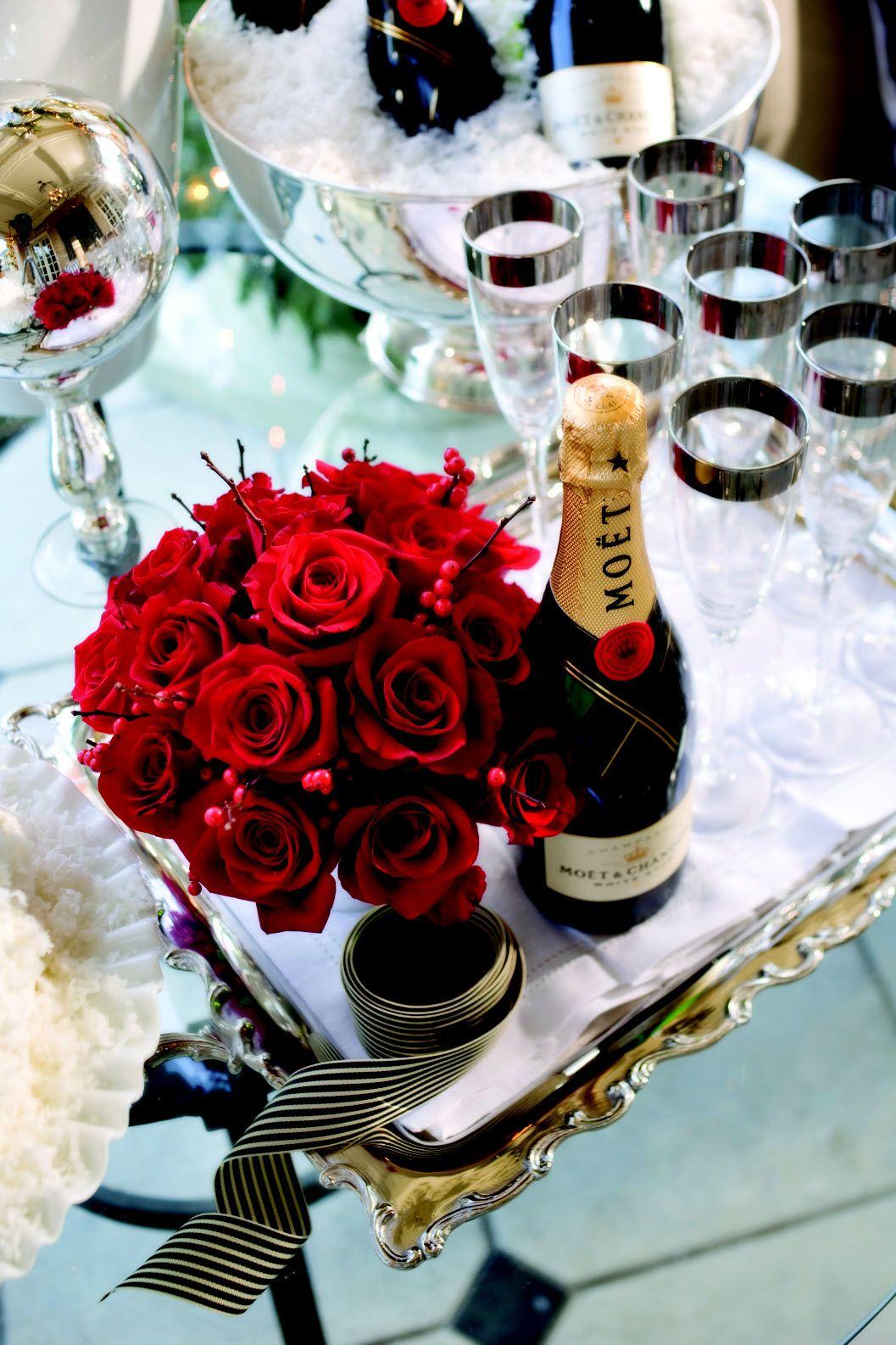 Pretty Drink Station Champagne Valentines Moet Chandon