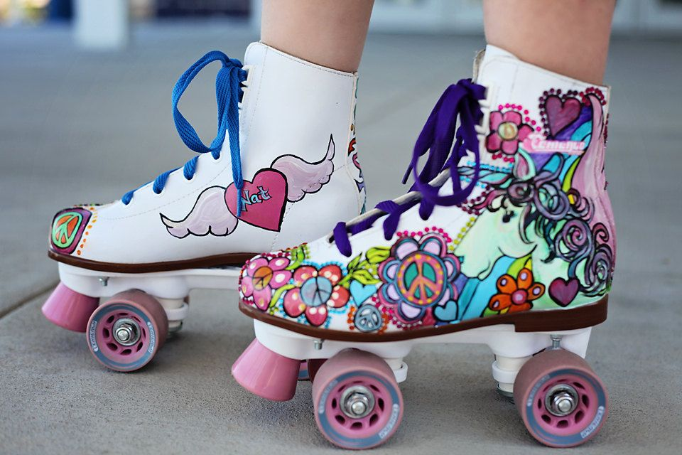 c7259b7f49d824 Custom Painted Skates for Girls Unicorn flowers free spirit hearts wings  Skater Style crystals sparkle rainbows by dreaminbohemian on Etsy