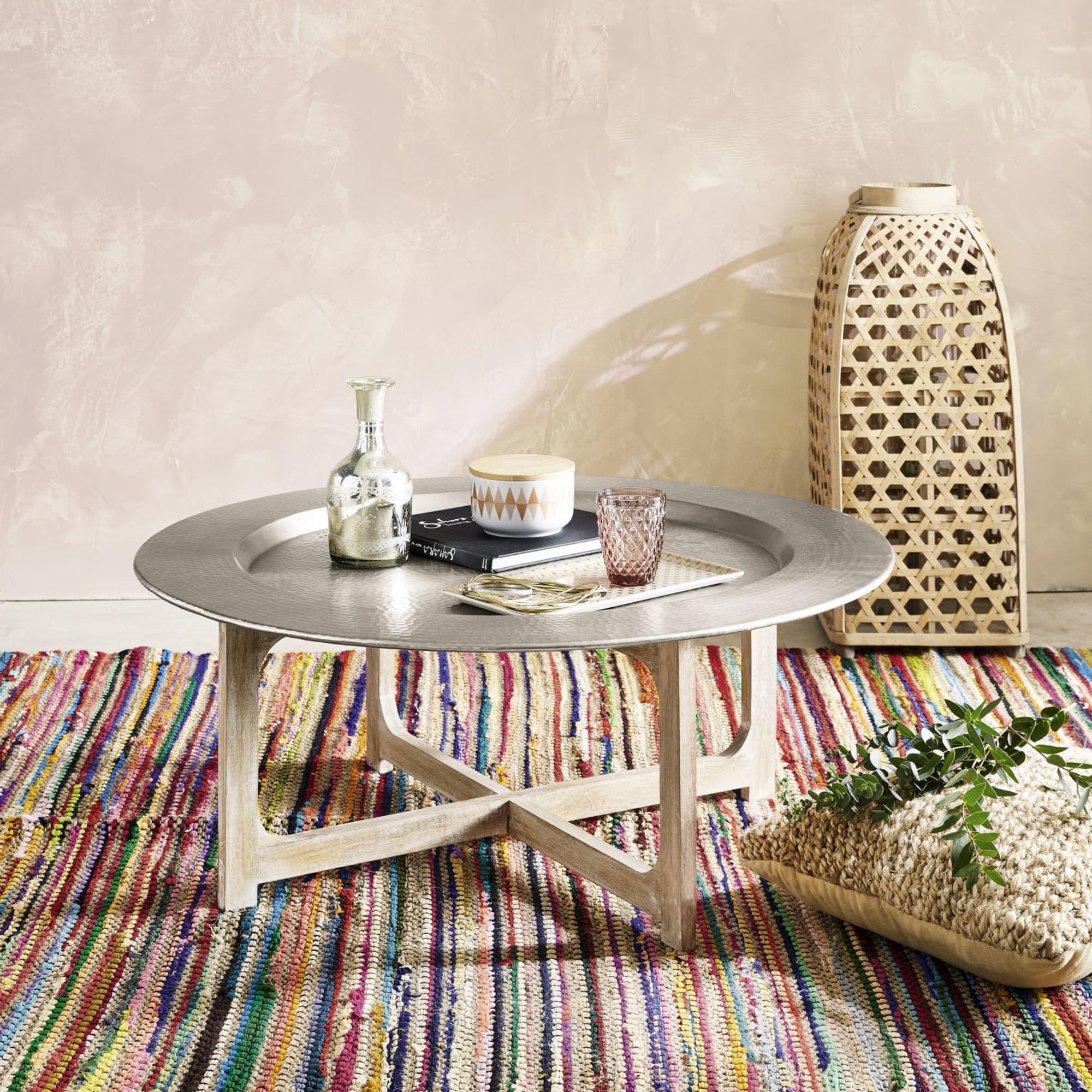 Table Basse En Aluminium Martele Et Manguier Massif Riad Maisons Du Monde Table Basse Table Idees Pour La Maison