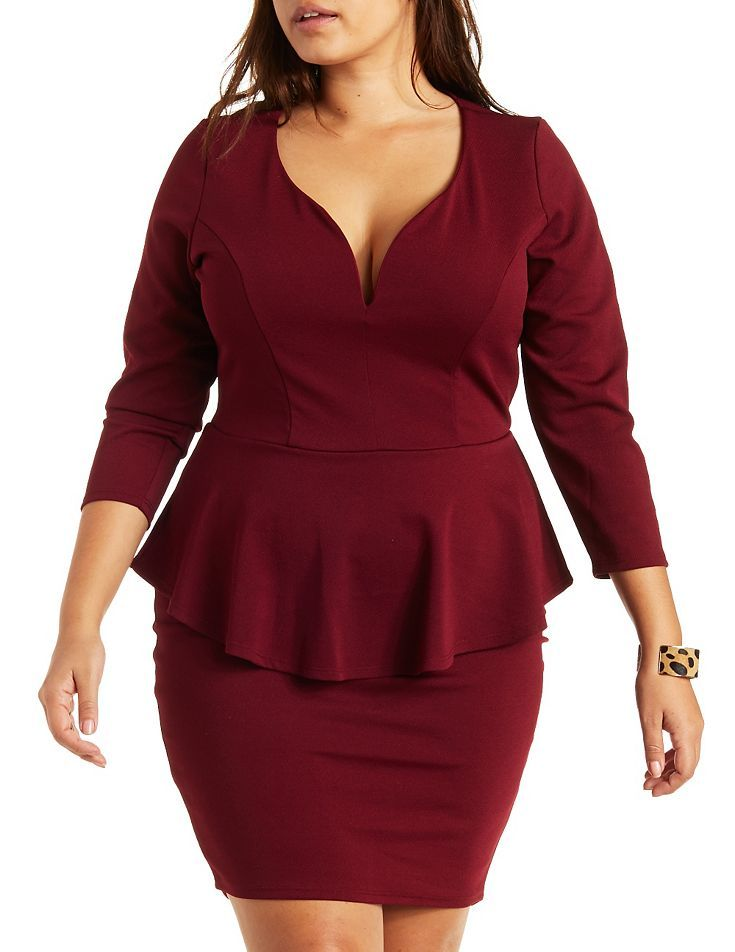 Plus Size Red Plunge Peplum Dress By Charlotte Russe Plus Sizeee