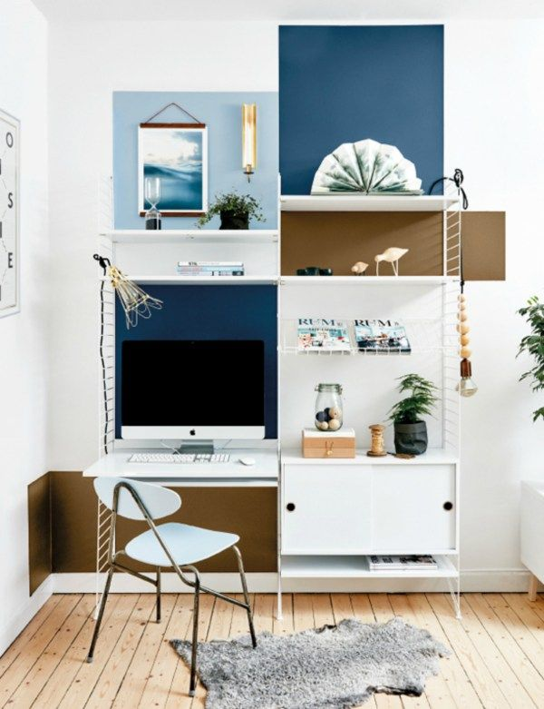 For the home office | Painted  Colour Blocked Wall with String Shelves