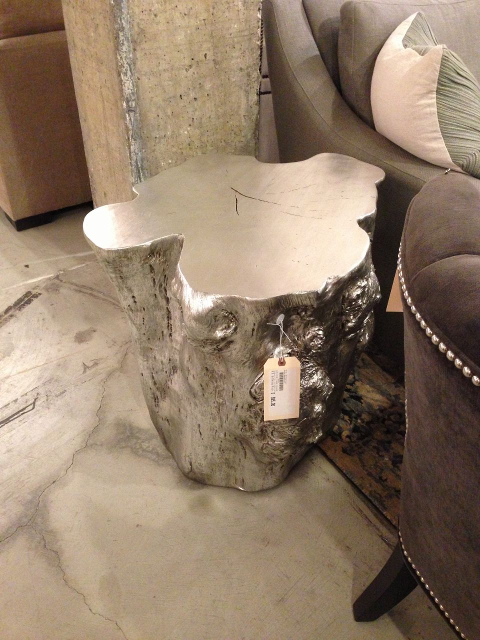 silvered resin tree stump side table, next to bed | hita608 ali's
