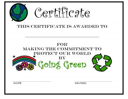 Earth Day Certificate For Going Green For Kids Who Pledge To Do