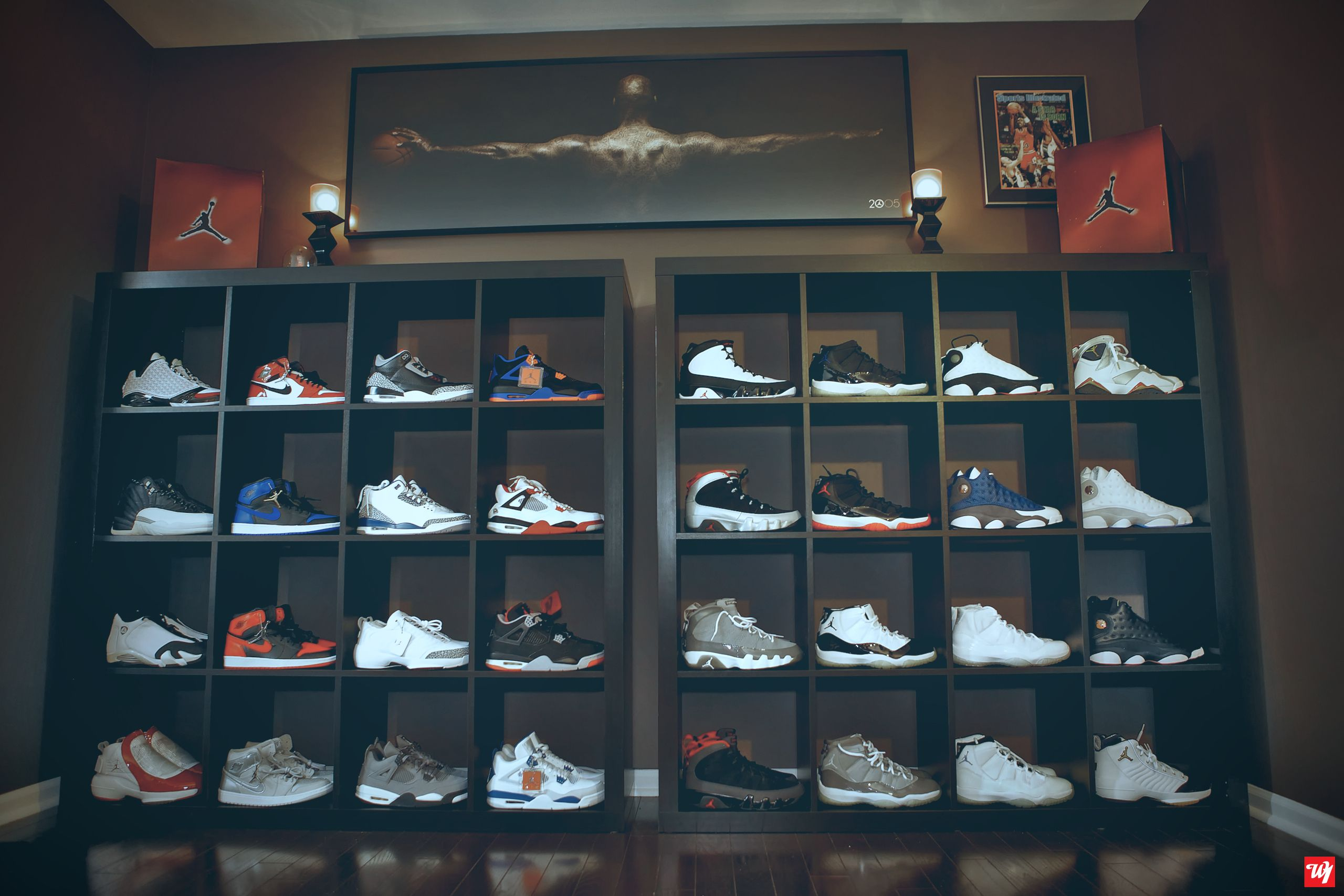eb38c5a5edd Ward 1 Air Jordan Collection Shoe Room [ Air Jordan Deadstock ] wall.  Sneakerhead Organization