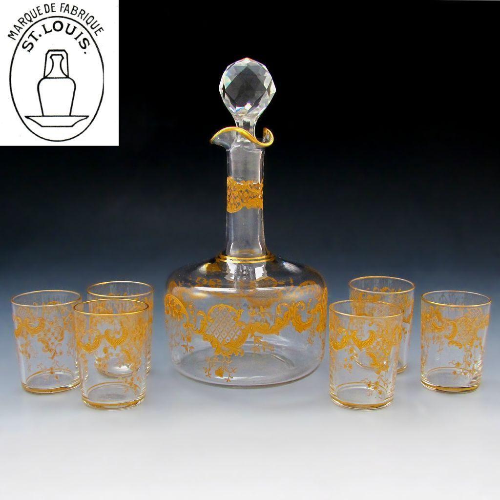 Antique French Saint Louis Crystal Gilded Liquor Serving Set: Decanter & Cordial Glasses