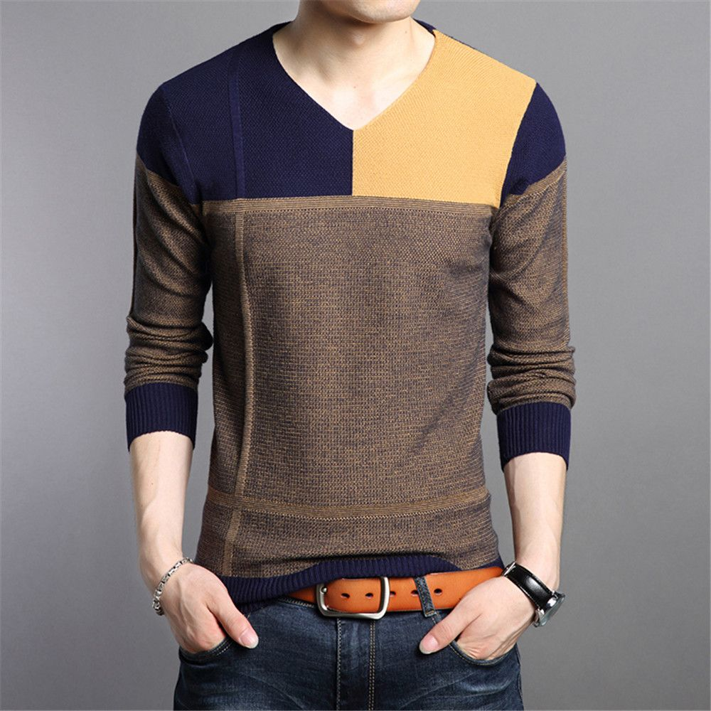 Male Slim V Neck Patchwork Cotton Winter Business Casual Sweaters ...