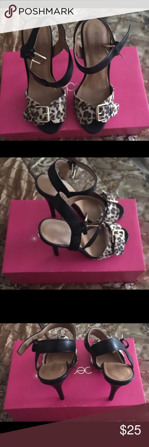 Leopard Heels Worn once, ordered wrong size.   Beautiful sexy leopard heels for a night out on the town or with jeans Shoe Dazzle Shoes Heels
