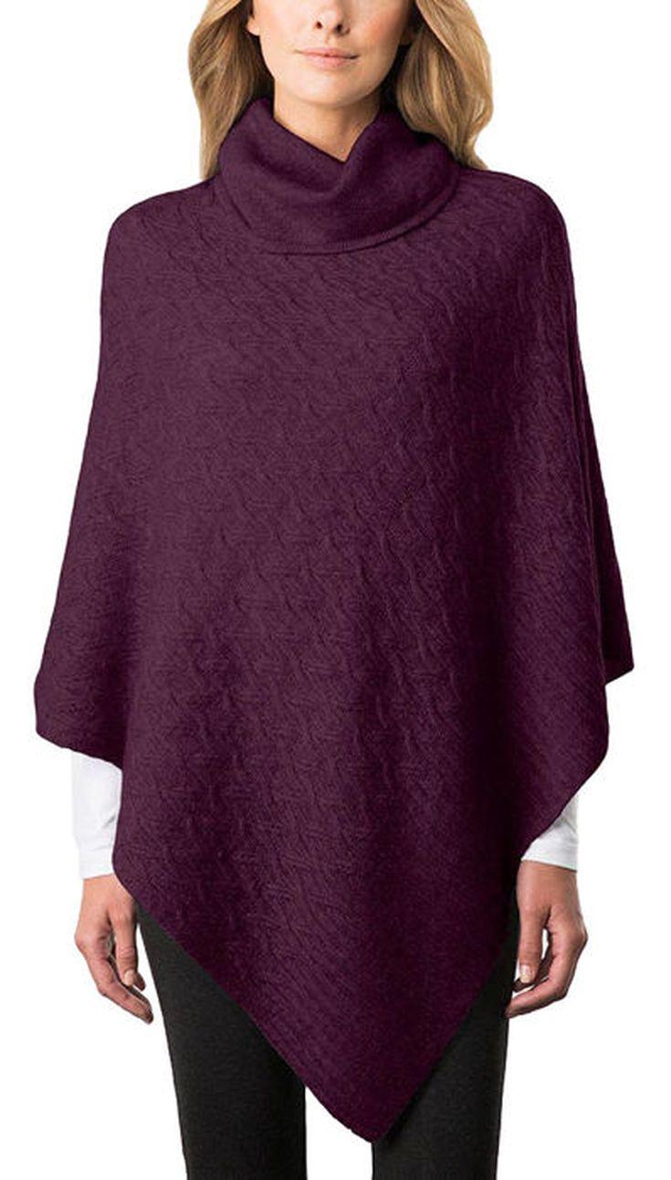 Celeste Ladies' Cable WoolCashmere Blend Poncho Purple