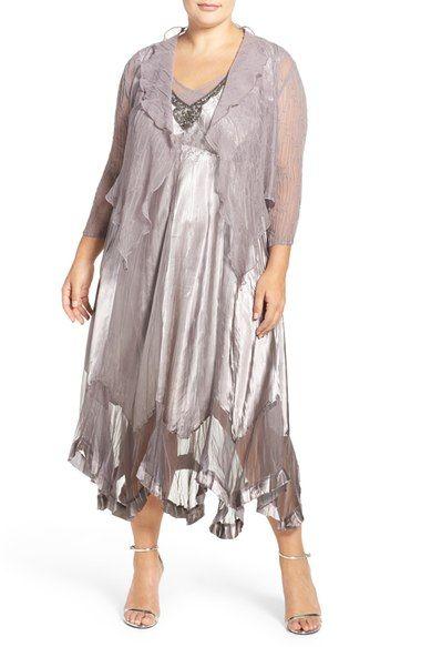 Komarov Embellished Charmeuse V-Neck Dress with Chiffon ...