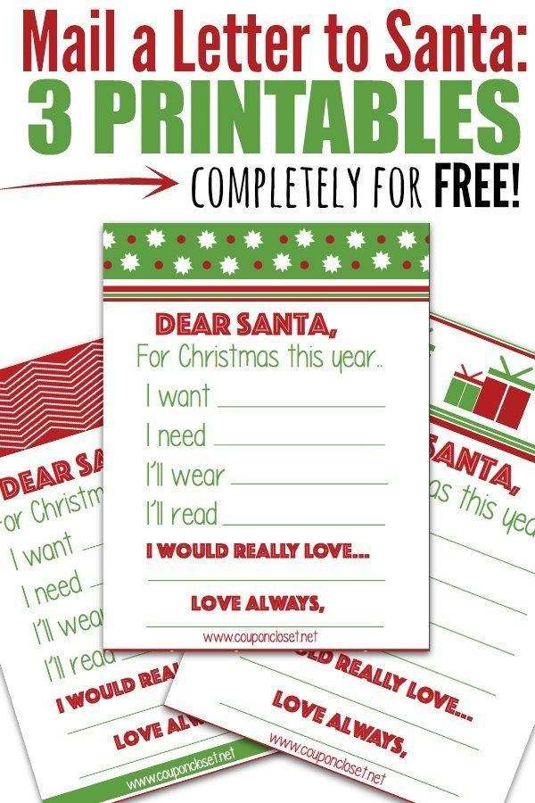 Free Santa Letter Printables  Mail A Letter To Santa  Santa And Free