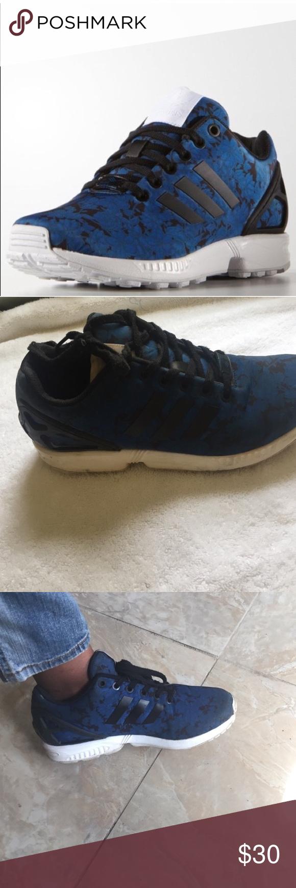Adidas flux blue floral print Adidas blue floral print flux women's US size 8 Shoes Sneakers