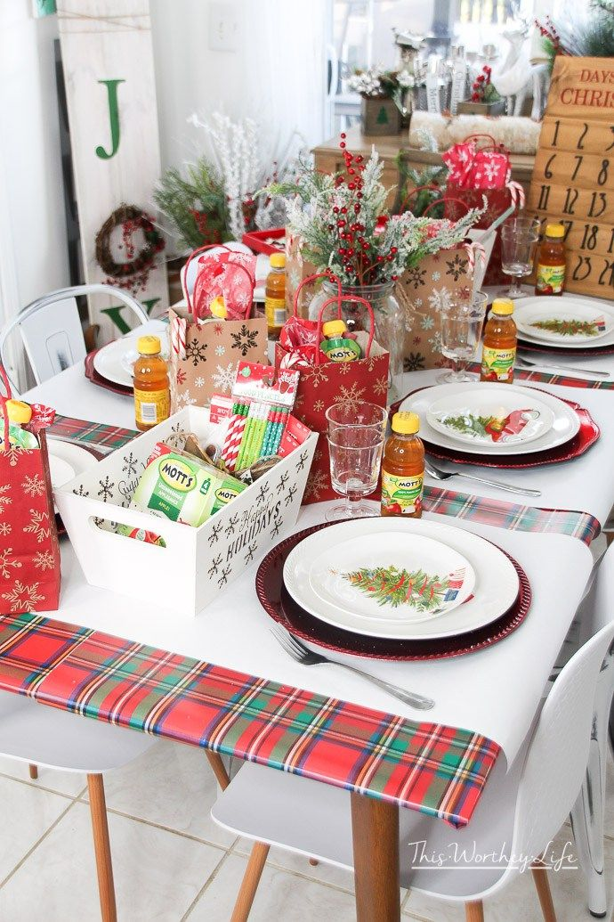 How to create a Kids Holiday Tablescape - Easy Table Decor Idea for Christmas [ad & How to create a Kids Holiday Tablescape - Easy Table Decor Idea for ...