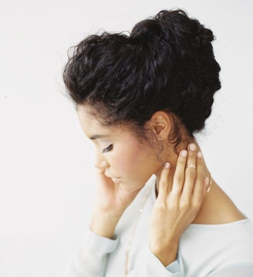 Go to http://www.dawnali.com/long-real-black-hair-natural-and-relaxed-super-growth-oils/ for hair growth. easy loose updo for natural hair #dawnali Dawn Ali