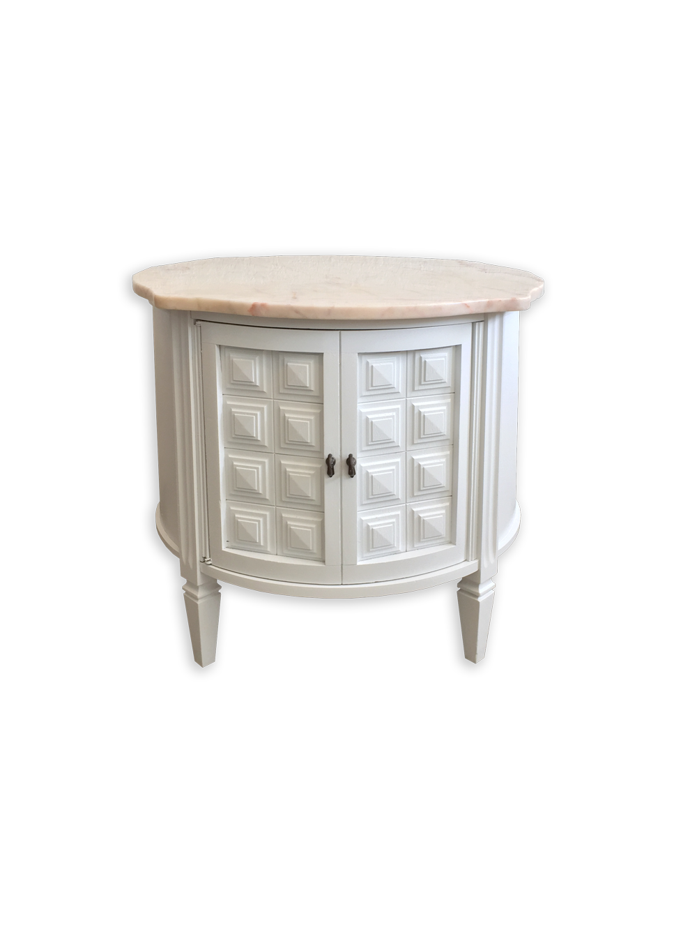 Vintage Round End Table With Cabinet And Rose Marble Top