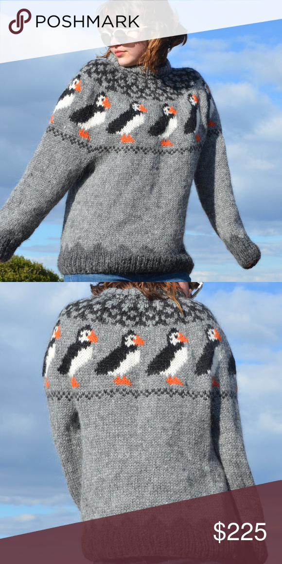 Hand-Knit Pure Icelandic Wool Puffin Sweater