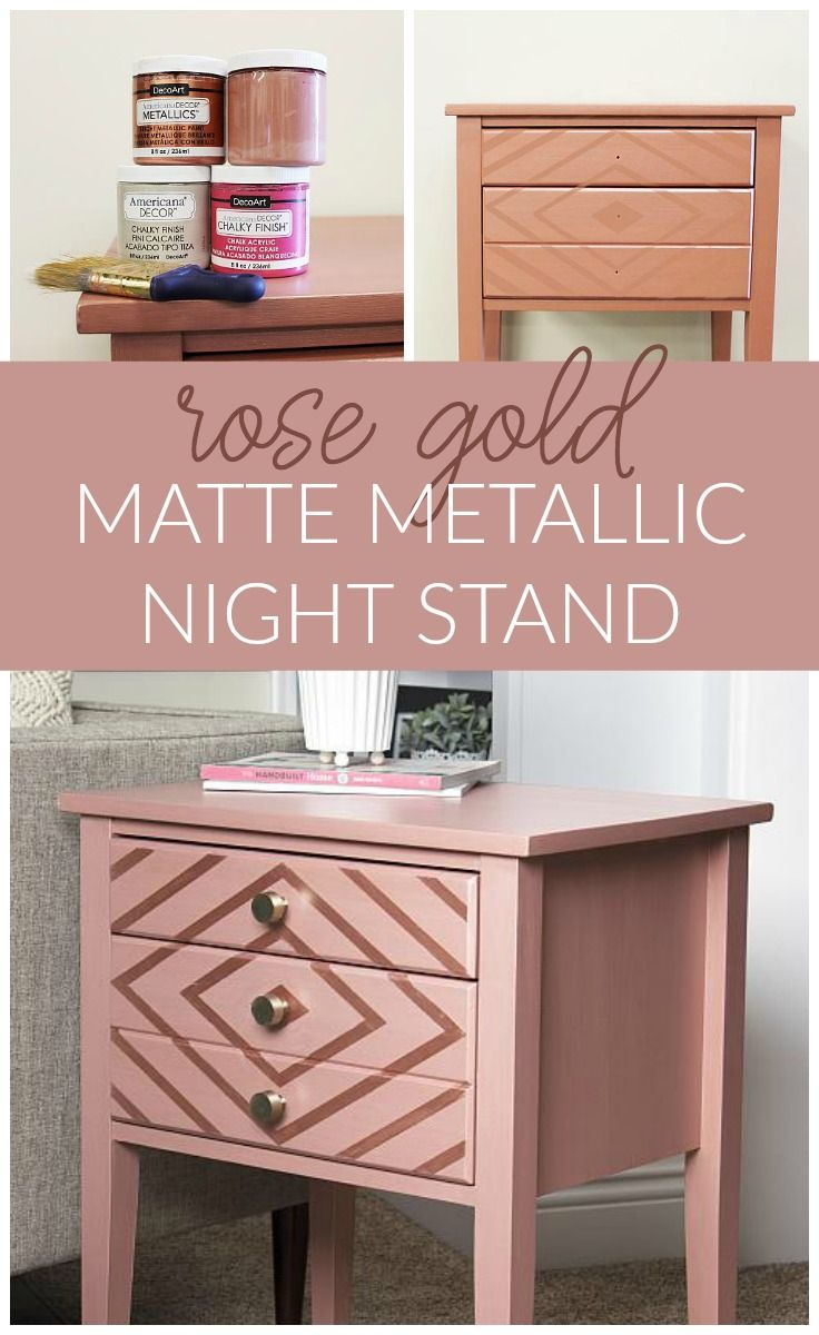 Create This Project With Americana Decor Metallics Americana Decor Metallic Stripes Look Stun Gold Painted Furniture Gold Furniture Diy Rose Gold Furniture