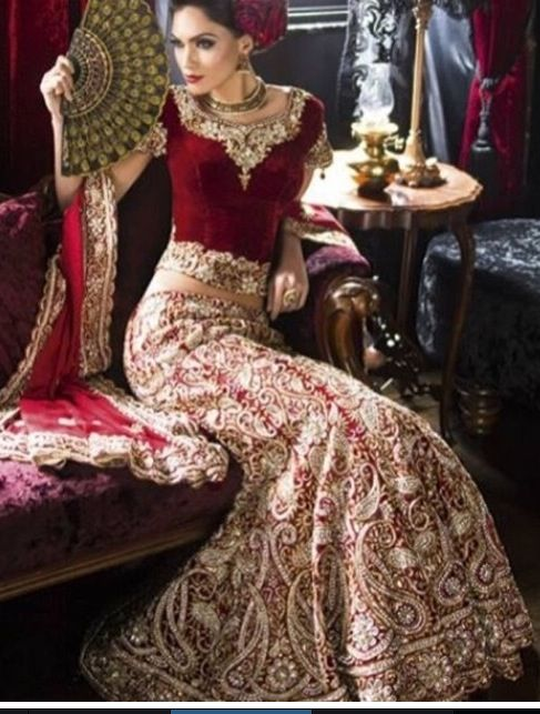 maroon and gold indian wedding dress