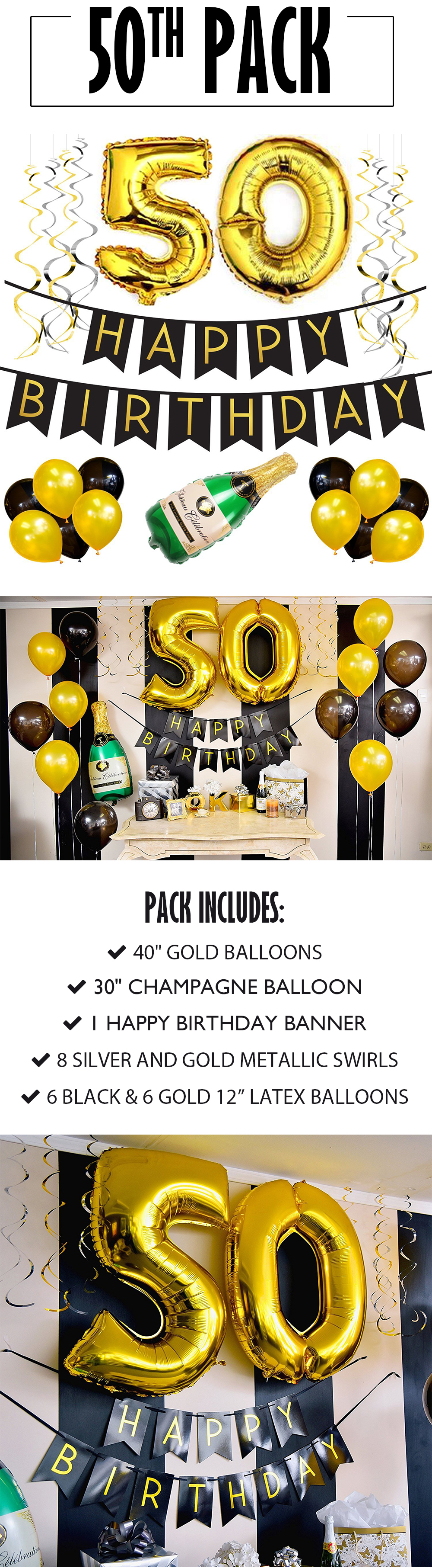 50th Birthday Banner And Balloon Pack