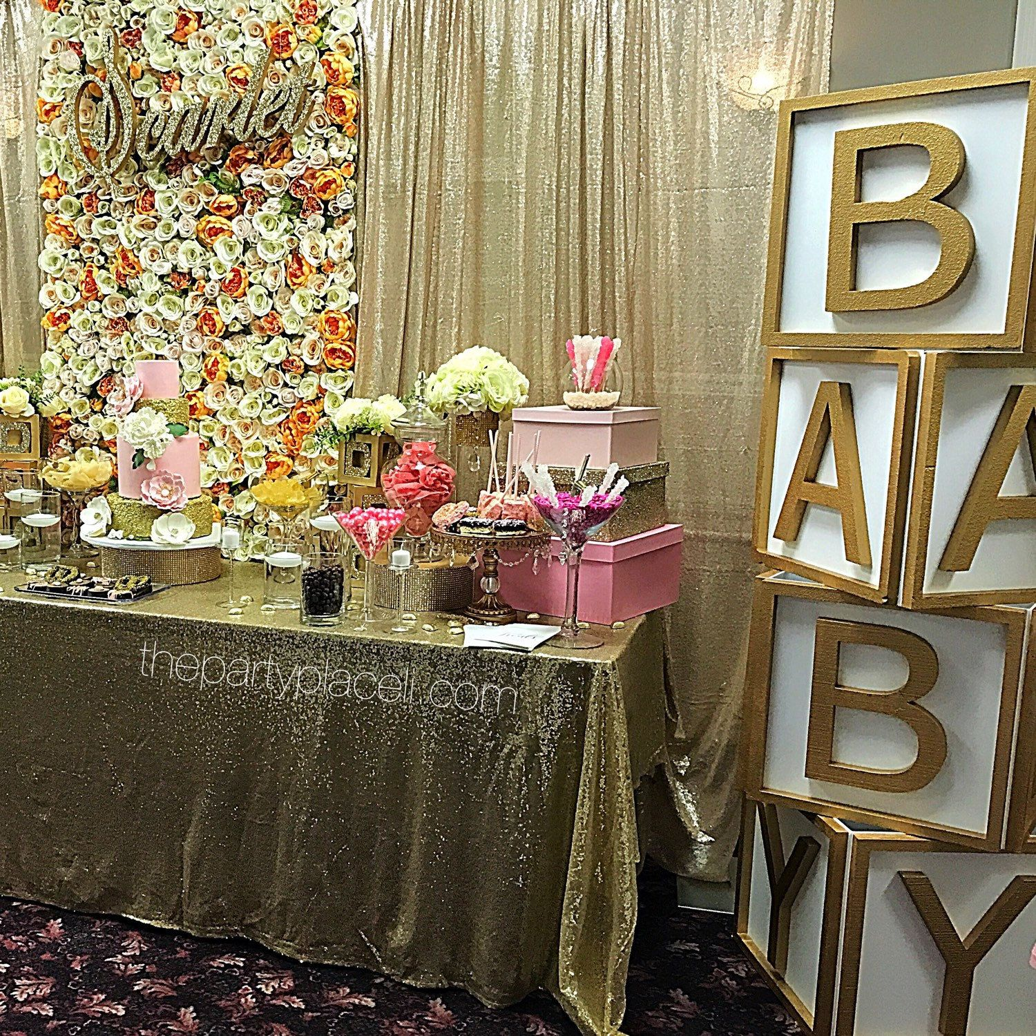 Fun, yet elegant huge baby block props! Perfect for baby shower entrance,  candy