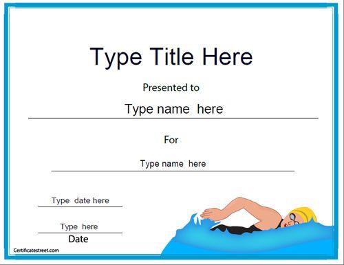 Sports Certificate - Swimming Achievement Award | CertificateStreet ...