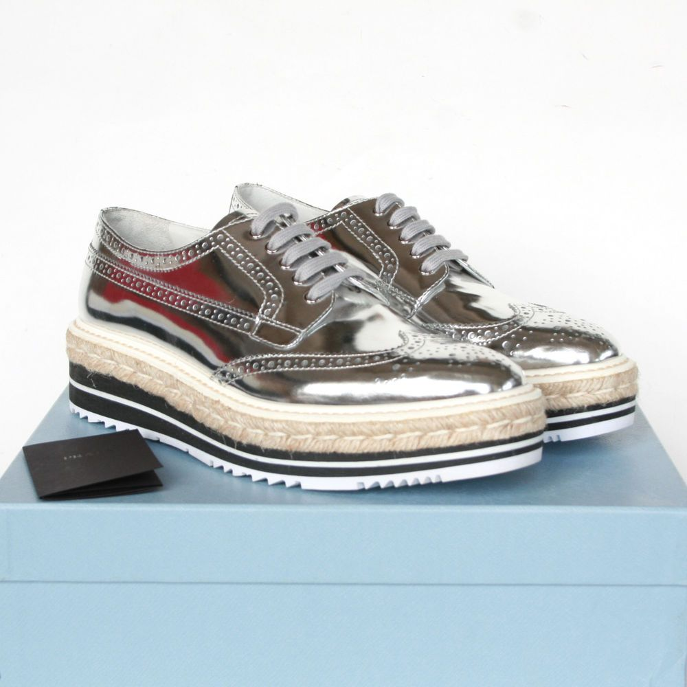 Prada Metallic Silver Leather Platform Espadrille Oxford Brogue Shoes